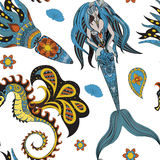Hand drawn Ornamental Mermaid, sea-horse and calmar, seamless Royalty Free Stock Photography