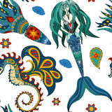 Hand drawn Ornamental Mermaid, sea-horse Fairy-tale Royalty Free Stock Photo