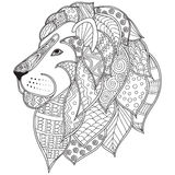 Hand drawn ornamental outline lion head illustration decorated with abstract doodles Royalty Free Stock Image