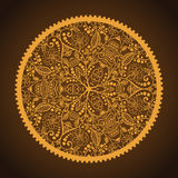 Hand-Drawn Ornamental Round Lace. Hand-Drawn Ornamental Golden Round Lace in the brown Royalty Free Illustration