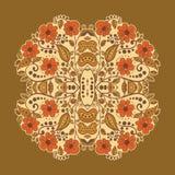 Hand-Drawn Ornamental Square Lace. Hand-Drawn Ornamental Beige Square Lace in the brown Stock Illustration