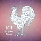Hand-drawn ornamental style rooster. Great for print, Holidays design Stock Photos