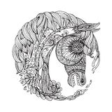 Hand drawn Ornamental Tattoo Horse Head. Highly Detailed Abstract Isolated Royalty Free Stock Photography
