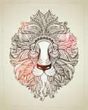 Hand drawn Ornamental Tattoo Horse Head. Highly Detailed Abstract Isolated Stock Image