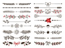 Hand drawn ornamental winter dividers. Snowflakes borders, Christmas holiday decor and floral ornate dividers vector set