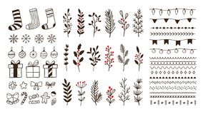 Free Hand Drawn Ornamental Winter Elements. Doodle Christmas Snowflake, Floral Branches And Decorative Borders Vector Set Stock Photography - 164126462