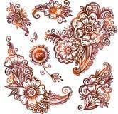 Hand-drawn ornamenten in Indische mehndistijl die worden geplaatst Stock Fotografie