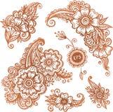 Hand-drawn ornamenten in Indische mehndistijl die worden geplaatst Royalty-vrije Stock Foto
