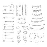Hand drawn ornaments hearts and arrows vector illustration