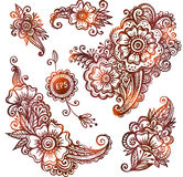 Hand-drawn ornaments set in Indian mehndi style Stock Photography