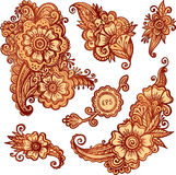 Hand-drawn ornaments set in Indian mehndi style Stock Images
