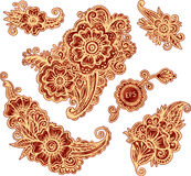 Hand-drawn ornaments set in Indian mehndi style Royalty Free Stock Photos