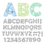 Hand drawn ornate alphabet. Vector illustration. Royalty Free Stock Photos