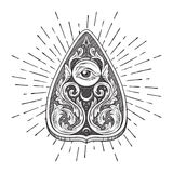 Hand drawn ornate art ouija board mystifying oracle planchette isolated. Antique style boho chic sticker, tattoo or print design. Hand drawn ouija board royalty free illustration
