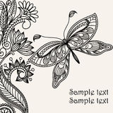 Hand-Drawn Ornate Butterfly Royalty Free Stock Image