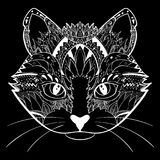 Hand drawn ornate doodle graphic black and white cat face. Vector illustration for t-shirts design, tattoo, and other. Things ep10 Royalty Free Stock Images