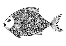 Hand drawn ornate doodle graphic black and white fish. Stock Images
