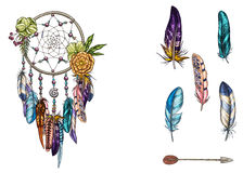 Hand drawn ornate Dreamcatcher with feathers, gemstones and arrow. Card with art, astrology, spirituality, magic symbol. Ethnic tr Royalty Free Stock Image