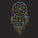 Hand drawn ornate Dreamcatcher with feathers, gemstones. Astrology, spirituality, magic symbol. Ethnic tribal element. Vector illu Stock Image
