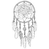 Hand drawn ornate Dreamcatcher with peony bud in contour. Vector illustration. Stock Image