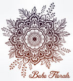 Hand drawn ornate flower in the crown of leaves. Stock Images