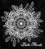 Hand drawn ornate flower in the crown of leaves. Stock Photography