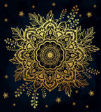 Hand drawn ornate flower in the crown of leaves. Royalty Free Stock Images
