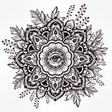 Hand drawn ornate flower with eye inside. Royalty Free Stock Photography