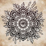 Hand drawn ornate flower with eye inside. Royalty Free Stock Images