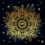 Hand drawn ornate flower with eye inside. Stock Photos