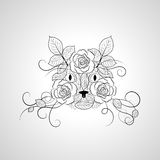 Hand drawn ornate graphic cat face. Royalty Free Stock Photos