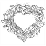 Hand drawn ornate heart for adult anti stress. Coloring page with high details isolated on white background. Zentangle pattern for relax and meditation. Heart Stock Images