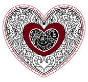 Hand drawn ornate heart in zentangle style. St Valentine card vector illustration