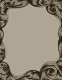 Hand Drawn ornate page border. Dark outlines, fill and background are on separate layers. Tan fill is in separate portions easy to change to multiple color stock illustration