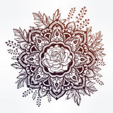 Hand drawn ornate rose flower with leaf crown. Royalty Free Stock Image