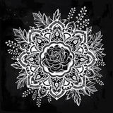 Hand drawn ornate rose flower with leaf crown. Stock Image