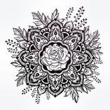 Hand drawn ornate rose flower with leaf crown. Royalty Free Stock Images