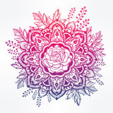 Hand drawn ornate rose flower with leaf crown. Stock Photography