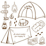 Hand drawn outdoor set. Royalty Free Stock Images