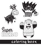 Hand drawn outline cartoon animals in superheroes costume Royalty Free Stock Photography