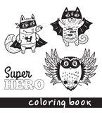 Hand drawn outline cartoon animals in superheroes costume Royalty Free Stock Photos