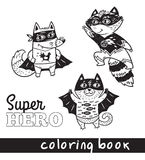 Hand drawn outline cartoon animals in superheroes costume Royalty Free Stock Image
