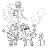 Hand drawn  outline circus elephant doodle Royalty Free Stock Photography