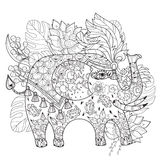 Hand drawn  outline circus elephant doodle Stock Photography