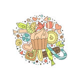 Hand drawn outline cupcakes, cookies, sweets and chocolate. Hand drawn colorful outline cupcakes, cookies, sweets and chocolate on white background Royalty Free Stock Photos