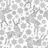 Hand drawn outline festive seamless pattern with snowflakes and deers isolated on white background. coloring antistress. Book for adult. Art vector illustration Royalty Free Stock Photo