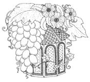 Hand drawn outline nesting box decorated with floral ornament. Stock Photo