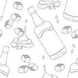 Hand drawn outline seamless pattern with bourbon caramel. Black and white food background Royalty Free Stock Photo