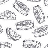 Hand drawn outline seamless pattern with cookie. Black and white food background Royalty Free Stock Images
