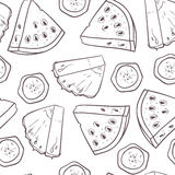 Hand drawn outline seamless pattern with pineapple banana and watermelon slices. Fruit background Royalty Free Stock Images